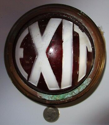 Very Rare Antique 1930's Art Deco Embossed Brass Theater Exit Sign Light