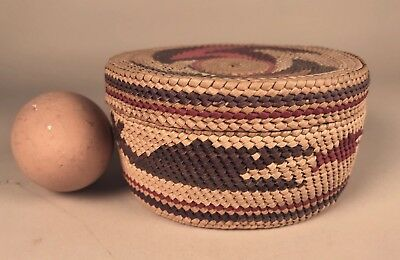 Antique SMALL MAKAH TWINED COVERED BASKET w WHALE, CANOE, etc, c. 1920-40s