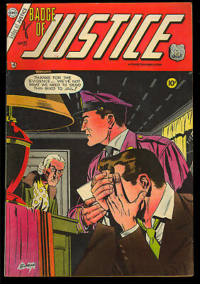 Badge of Justice #22 (#1) Nice First Issue Giordano Cover Charlton 1955 VG-FN