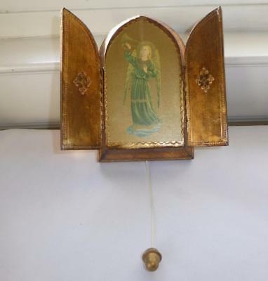 Vintage Gold Gilt Carved Wood Triptych Icon  Wall Plaque Music Box Ava Maria