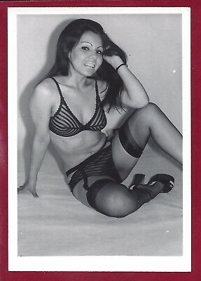 1960's Vintage Nude Photo~Busty Boobs Hairy Bush Asian Pinup Strips in Stockings