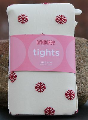 GYMBOREE Tights Girls Snowflake ALPINE SWEETIE Ivory & Red NEW Size 8 9 10