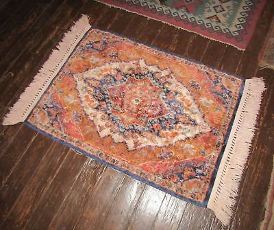 Vintage/Antique Velvet or Chenille Oriental Table Rug or Tapestry Wall Hanging