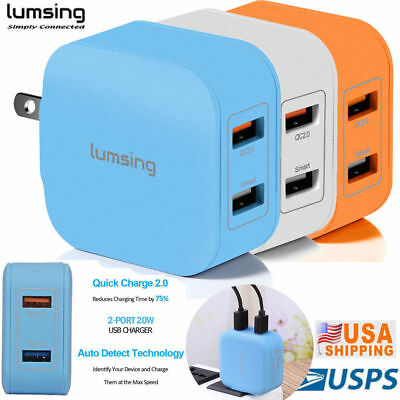 New Lumsing Multi 2 Port Usb Wall Charger Adapter Qc 20 Fast