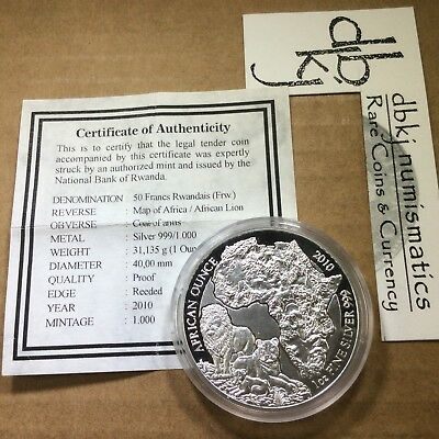 Rwanda 2010 Lion - 50 Francs - 1 oz 999 PROOF Silver Coin - In Capsule w/COA