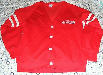 Red Coca-Cola Cardigan Sweater Jerzees Russell Coke Sz S Mr Rogers Button Up