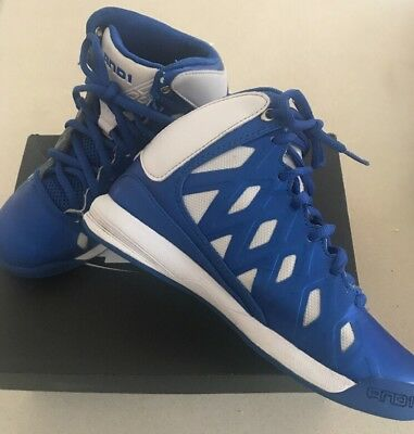 ANDI 1 ROCKET 4 BLUE AND WHITE BASKETBALL BOOTS. Size US 2