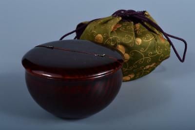 J6640: Japanese Wooden Hida Shunkei Lacquer ware TEA CADDY Natsume Chaire