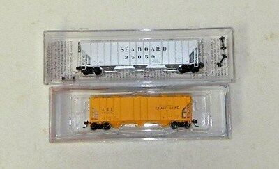 2 x BLMA/MicroTrains N Scale CSXT Fallen Flags 3 Bay Covered Hoppers