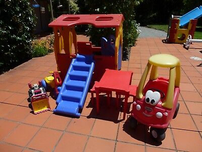 Ampi Plastic Cubby House + Outdoor Toys, Table, Stools  Vgc Melbourne