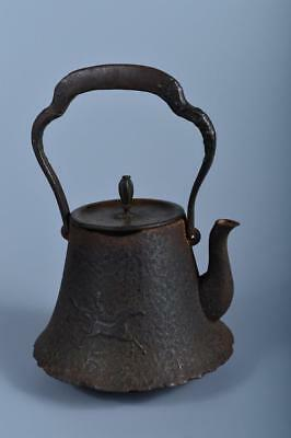 J6609: Japanese XF Old Iron Horse Poetry sculpture TEA KETTLE Teapot Copper lid