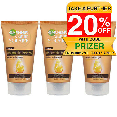 3PK Garnier 150ml Ambre Solaire No Streaks Bronzer Tinted Self Tan Gel Tanning