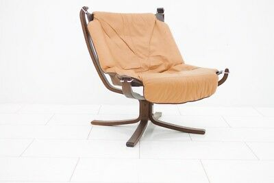 Falcon Lounge Chair by Sigurd Resell, Norway, 1971 Sessel Leder Leather vntage