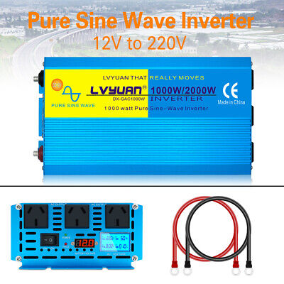 1000W / 2000W Pure Sine Wave Inverter 12V to 240V Power Camping Caravan IPOWER
