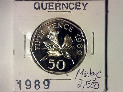 Guernsey 1989 Proof 50 Pence - Mintage 2,500