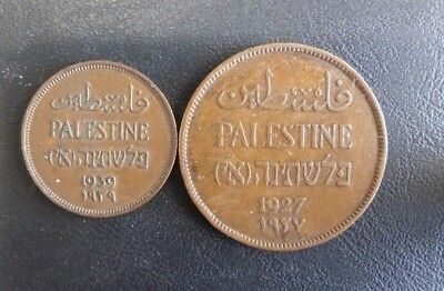 Palestine 2 Mils 1927 & 1 Mil 1938.  Circulated Good Condition Coins.