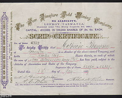 Share Scrip - Gold Mining. 1897 New Pinafore Gold Mining Co.. Lefroy Tasmania