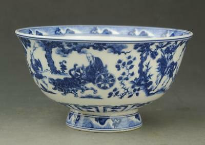 Chinese old  Blue and white porcelain People ride horse bowl / qianlong mark