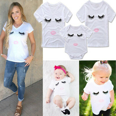 Family Clothes Mother Daughter T-shirt Eyelashes Lip Print Top Blouss Fashion