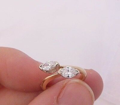 18ct/18k gold exceptional two stone 1/2ct marquise cut Diamond ring, 750