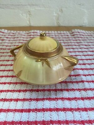 Royal Worcester Hand Painted Bone China Gilt Sugar Bowl And Cover