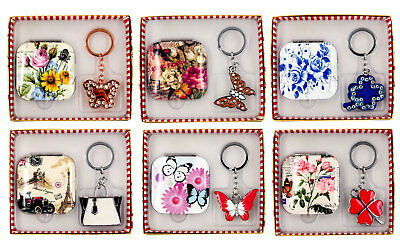 Decorative Square Compact Mirror & Keyring-Gift Boxed Set- Ass.Designs-AU Seller
