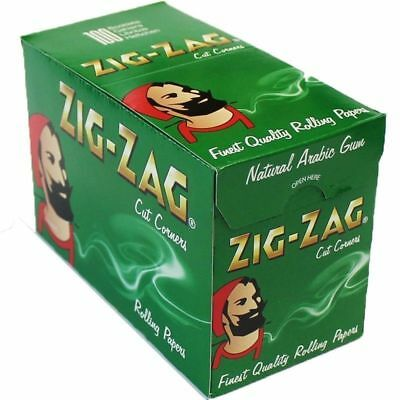 Zig Zag Green Regular/standard Rolling Papers One Full Box = 100 Booklets
