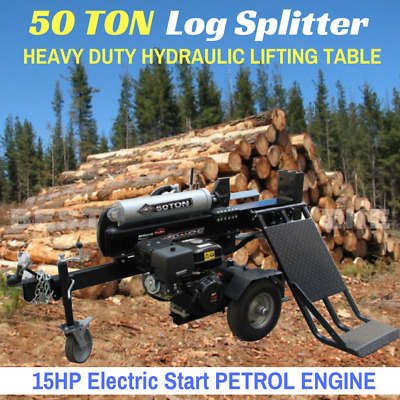 New 50 TON HYDRAULIC LOG SPLITTER ELECTRIC START with HEAVY DUTY  LIFTING TABLE