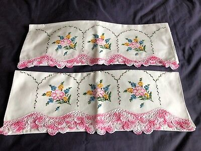 Superb Pair Vintage Hand Embroidered White Cotton Pillow Cases Crocheted Edgings