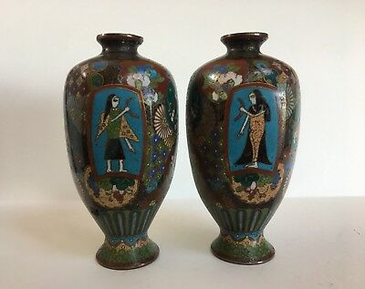 Antique Japanese Cloisonné Vases Egyptian Inspired Pair 6 Sided