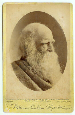 RARE POET LAWYER ABOLITINIST: Cabinet Card of William Cullen Bryant by Sarony