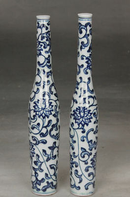 2pc Exquisite Chinese hand-Painted flower blue and white porcelain vases