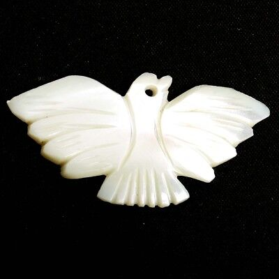 NATURAL CARVED BIRD MOTHER OF PEARL GEMSTONE DRILLED LOOSE 47 x 23 mm EXQUISITE
