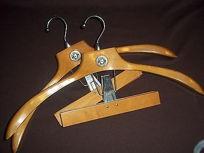 Pair Vtg. Wooden Suit Hangers w/Pants/Skirt Clamp, Lee-Rowan, Crestwood