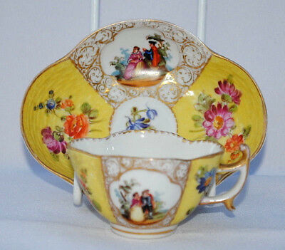 Antique 19Thc Ar Meissen Mark Dresden Helena Wolfsohn Cup And Saucer