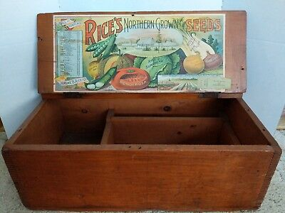Vintage Rice's Seeds large advertising wooden box