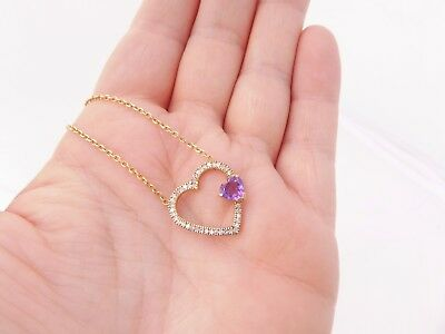 9ct/9k gold Diamond & Amethyst Art deco design heart pendant on chain, 375