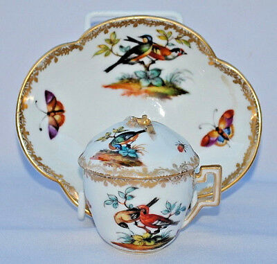 Antique 19Thc Ar Meissen Mark Dresden Helena Wolfsohn Chocolate Cup And Saucer