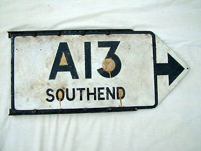 A13 SOUTHEND Pair of original pre Worboys Aluminium Essex Road Direction Signs