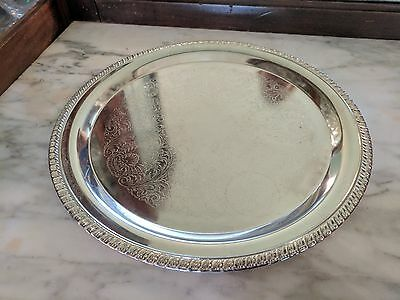 "Fancy Vintage Round Silverplate Serving Tray Platter 12 1/2"" Engraved"