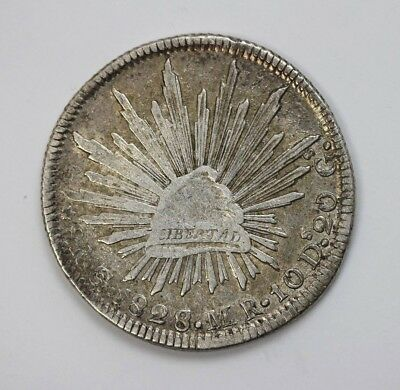 1828 Mexico Silver - 8 Reale - Cap/Rays 1828/7 KM-377.8 VF #01345539h