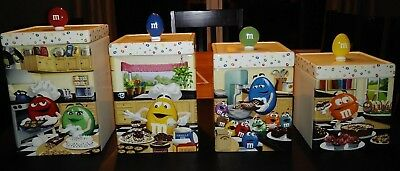 FLAWLESS M&M DANBURY MINT CERAMIC M&Ms 2015 CANISTER COLLECTION set of 4