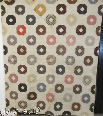 EARLY c 1860s Rolling Rock ANTIQUE Quilt browns Madder NEVER used