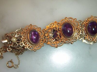 A Stunning Victorian Antique 9 Ct Gold Cabochon Amethyst And Seed Pearl Bracelet