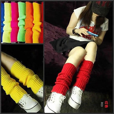 Ladies Fashion Legwarmers Knitted Neon Dance 80s Costume 1980s Lady Leg Warmers