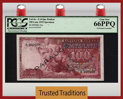 "TT PK 22s 1939 LATVIA 100 LATU ""SPECIMEN"" PCGS 66 PPQ GEM NEW POP 1 FINEST KNOWN"