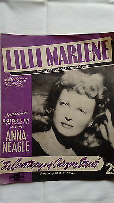 "Vintage sheet music ""Lilli Marlene"" Anna Neagle (The Courtneys of Curzon Street)"