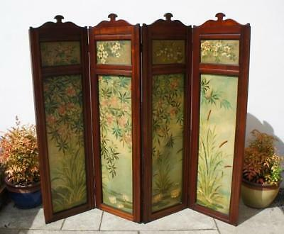 Victorian Mahogany 4 panel  folding screen,  room divider, hand painted,