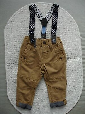 Baby Boys Tan Chino's With Braces Age 6-9 months - Next