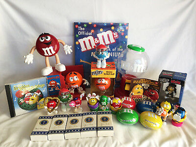 Lot of M&M's Collectibles, Elvis,Stress Ball, CD's, Bowler, Book, Pres. M&M's